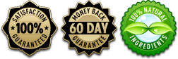 60 day money back guarantee. All natural ingredients.